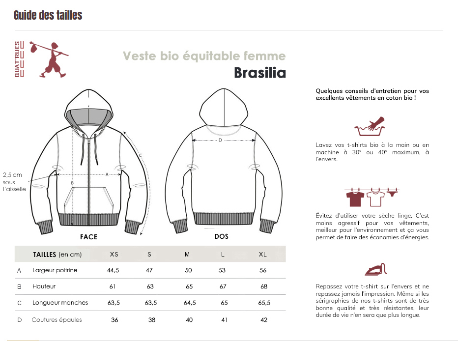 Guide des tailles Brasilia