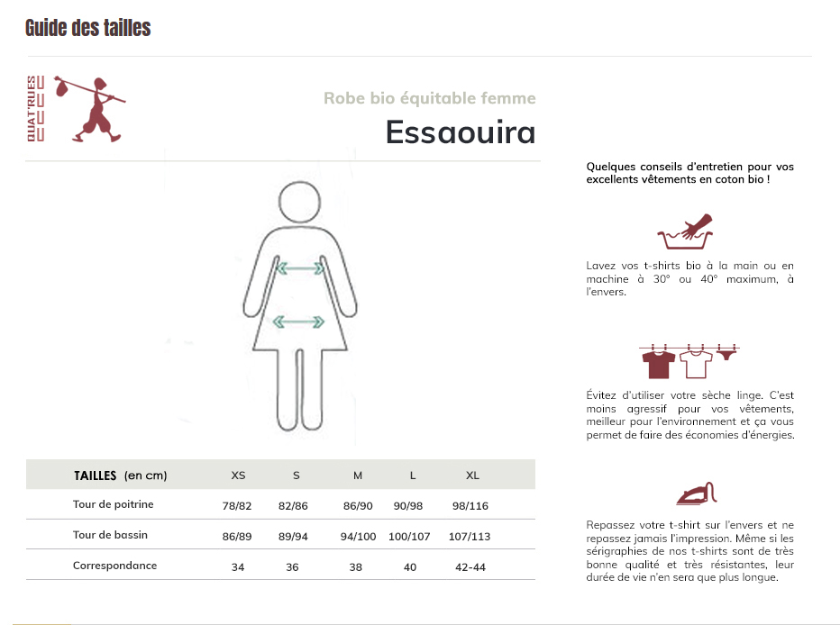 Sizes guide ESSAOUIRA