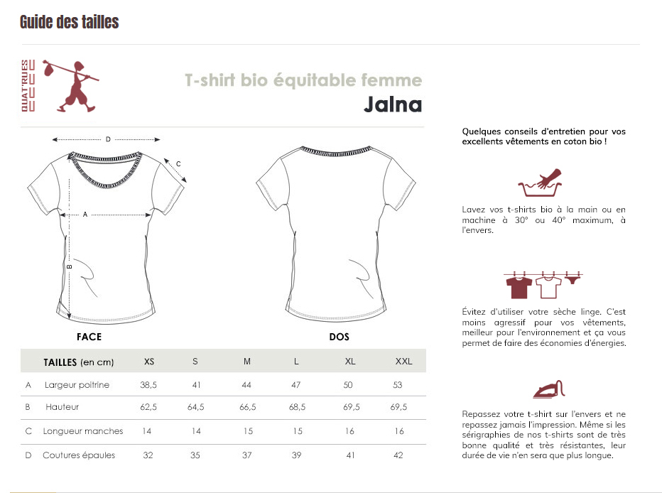 Guide des tailles Jalna