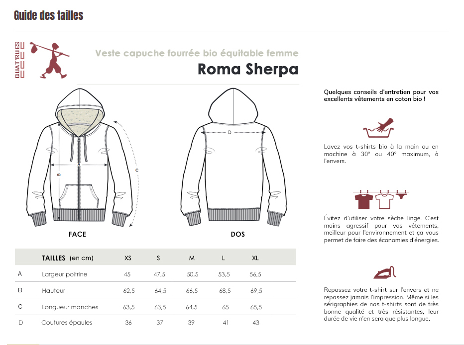 Guide des tailles Roma Sherpa