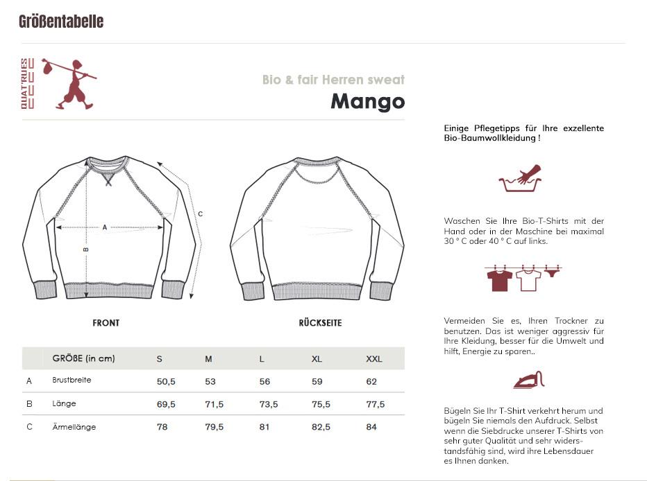 Größentabelle Mango