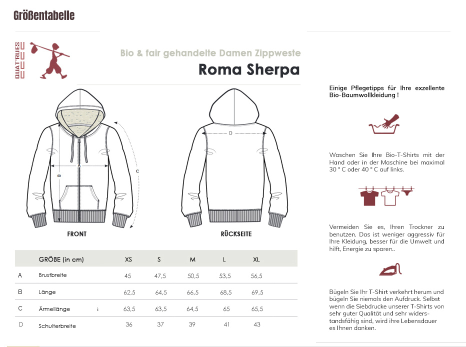 Größentabelle Roma Sherpa
