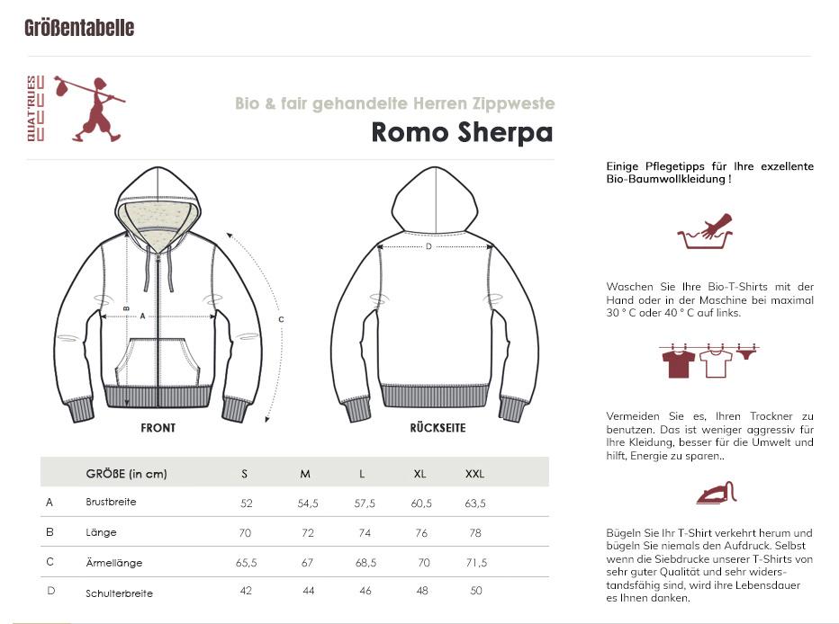 Größentabelle Romo Sherpa