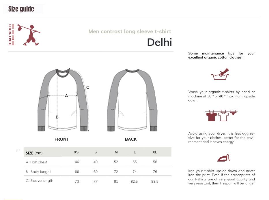 Size guide Delhi