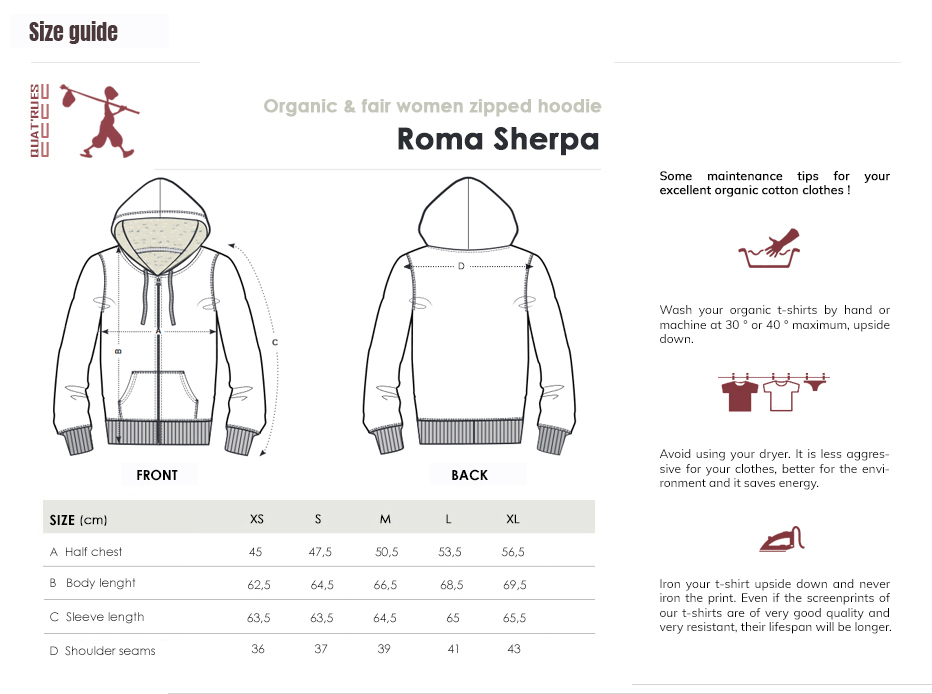Size guide Roma Sherpa