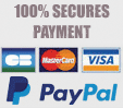 100% secures payment with credit card Mastercard, VISA, PayPal
